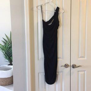 Halston Heritage Black one shoulder dress